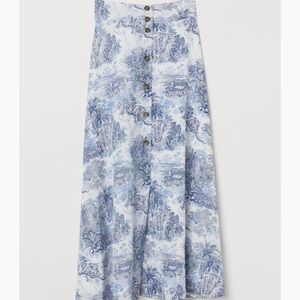H&M Blue and White Maxi Skirt